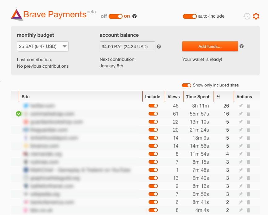 Brave Payments wallet screenshot showing BAT balance and attention breakdown by percentage