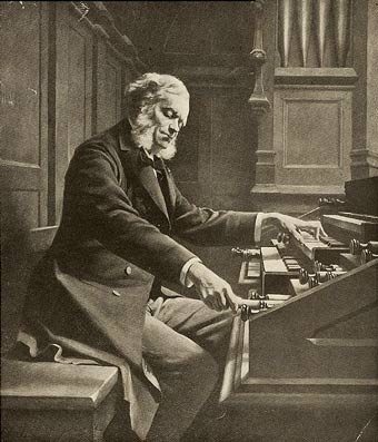 Painting of composer and organist César Franck pulling out an organ stop