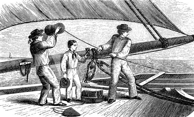 An engraving of three mates measuring a ship's speed using a chip log