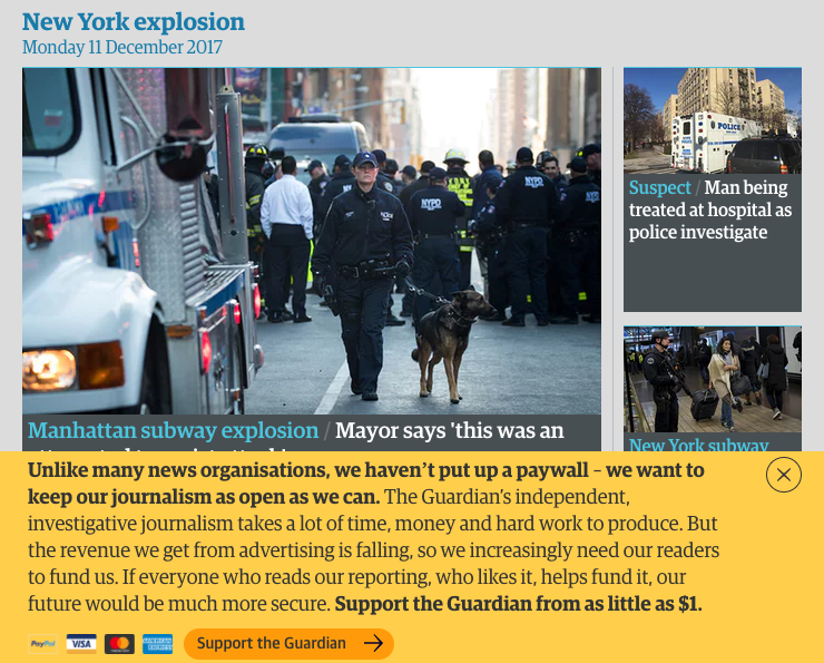A screenshot of The Guardian homepage